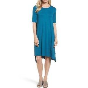 EILEEN FISHER Nile Blue Asymmetrical Tunic Dress